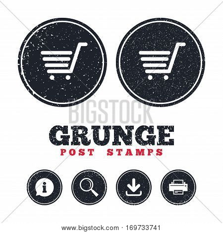 Grunge post stamps. Shopping Cart sign icon. Online buying button. Information, download and printer signs. Aged texture web buttons. Vector