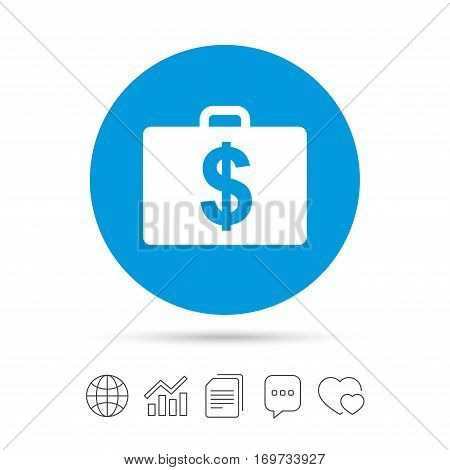 Case with Dollars USD sign icon. Briefcase button. Copy files, chat speech bubble and chart web icons. Vector