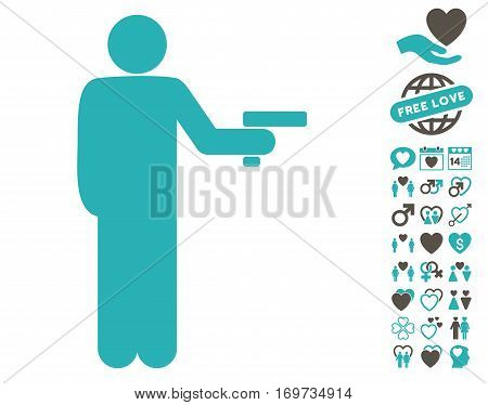 Robber With Gun icon with bonus valentine graphic icons. Vector illustration style is flat iconic grey and cyan symbols on white background.