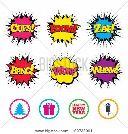 Comic Wow, Oops, Boom and Wham sound effects. Happy new year icon. Christmas tree and gift box signs. Fireworks rocket symbol. Zap speech bubbles in pop art. Vector
