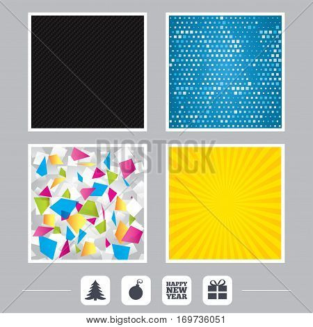Carbon fiber texture. Yellow flare and abstract backgrounds. Happy new year icon. Christmas tree and gift box sign symbols. Flat design web icons. Vector
