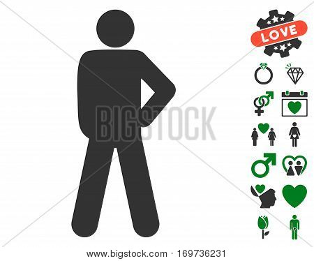 Audacity Pose icon with bonus valentine images. Vector illustration style is flat iconic green and gray symbols on white background.