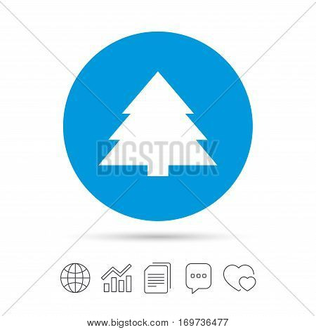 Christmas tree sign icon. Holidays button. Copy files, chat speech bubble and chart web icons. Vector