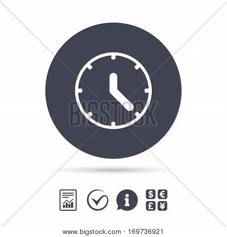 Clock sign icon. Mechanical clock symbol. Report document, information and check tick icons. Currency exchange. Vector