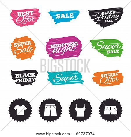 Ink brush sale banners and stripes. Clothes icons. T-shirt and pants with shorts signs. Swimming trunks symbol. Special offer. Ink stroke. Vector