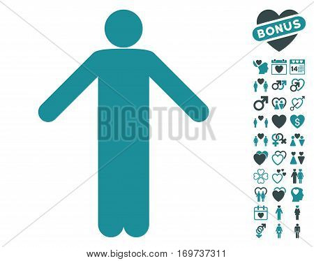 Ignorance Pose pictograph with bonus lovely pictures. Vector illustration style is flat iconic soft blue symbols on white background.