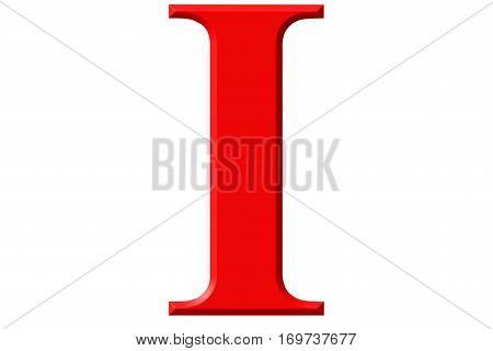 Roman Numeral I, Unus, 1, One, Isolated On White Background, 3D Render