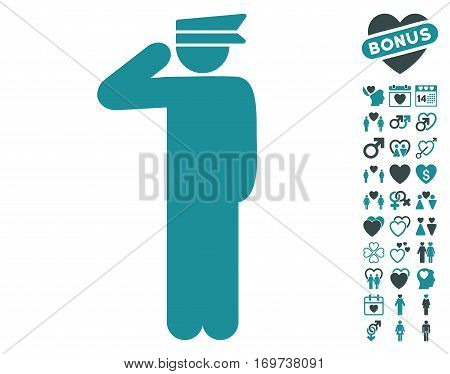 Police Officer pictograph with bonus lovely pictograms. Vector illustration style is flat iconic soft blue symbols on white background.
