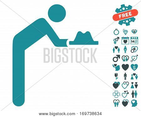 Servant With Hat pictograph with bonus valentine symbols. Vector illustration style is flat iconic soft blue symbols on white background.
