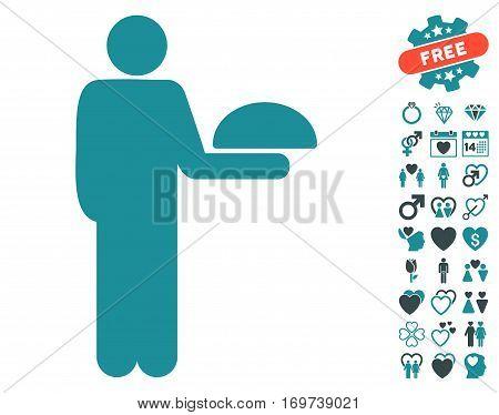 Standing Waiter icon with bonus lovely images. Vector illustration style is flat iconic soft blue symbols on white background.