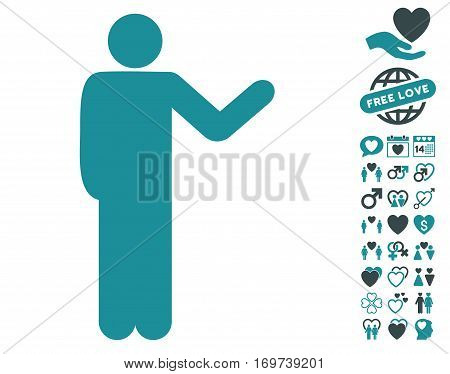 Talking Man pictograph with bonus dating graphic icons. Vector illustration style is flat iconic soft blue symbols on white background.