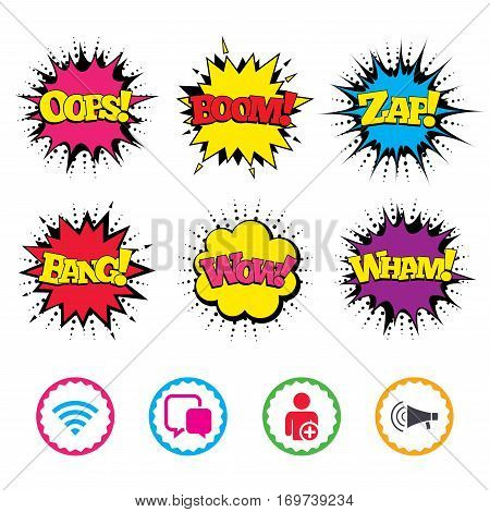 Comic Wow, Oops, Boom and Wham sound effects. Wifi and chat bubbles icons. Add user and megaphone loudspeaker symbols. Communication signs. Zap speech bubbles in pop art. Vector