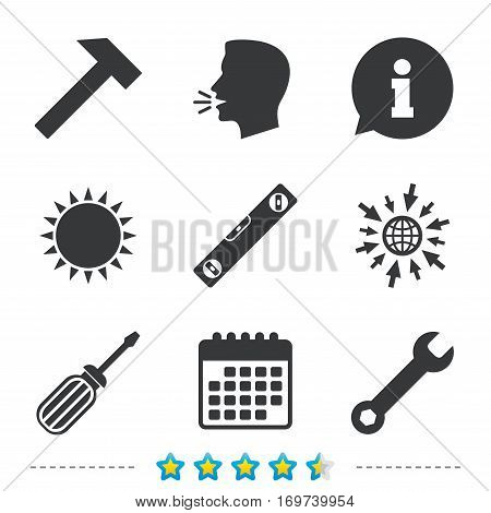 Screwdriver and wrench key tool icons. Bubble level and hammer sign symbols. Information, go to web and calendar icons. Sun and loud speak symbol. Vector