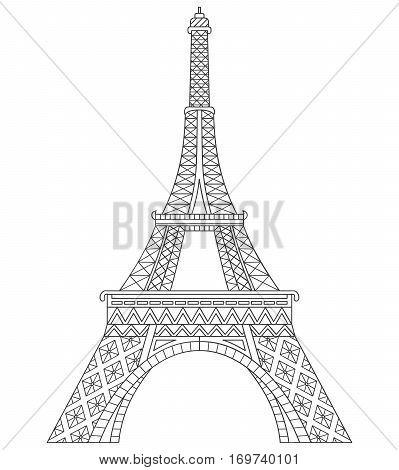 Vector Eiffel tower in Paris hand drawn