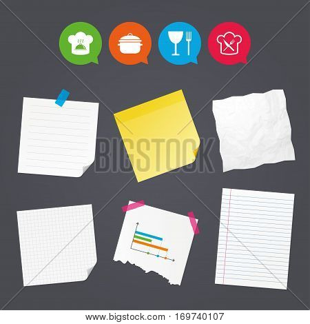 Business paper banners with notes. Chief hat and cooking pan icons. Crosswise fork and knife signs. Boil or stew food symbols. Sticky colorful tape. Speech bubbles with icons. Vector
