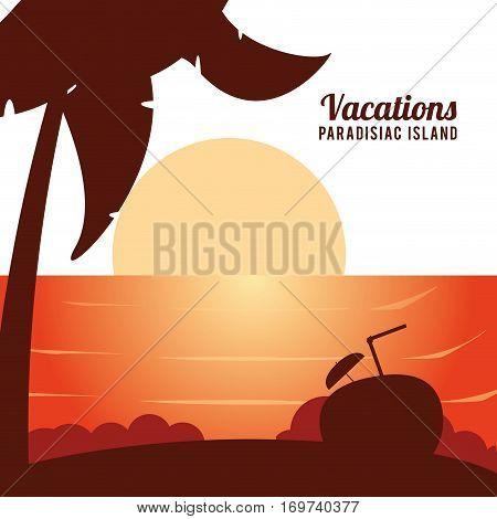 vacations paradisiac island caribbean exotic sunshine poster vector illustration eps 10