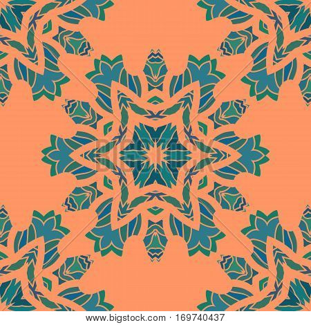 Mandala print ornament symmetry seamless background. Decorative round ornament for colouring anti-stress therapy. Fabric design. Yoga inspired backgrounds for meditation poster. Unusual stylized flower shape. Oriental vector.