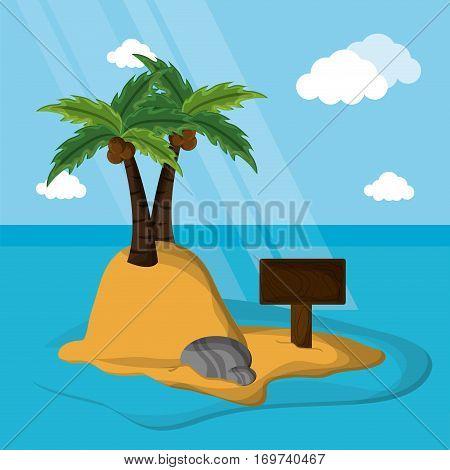 desert island palm coconut rock sand vector illustration eps 10