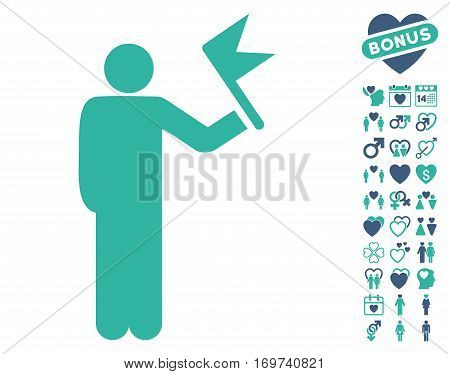 Man With Flag icon with bonus dating clip art. Vector illustration style is flat iconic cobalt and cyan symbols on white background.