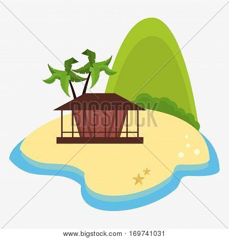 mountain isalnd hut palm tree desert vector illustration eps 10