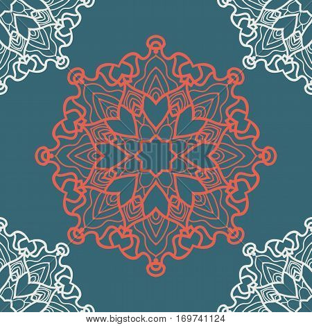 Yoga inspired backgrounds meditation poster. Unusual stylized flower endless pattern. Print fo colouring relaxation.
