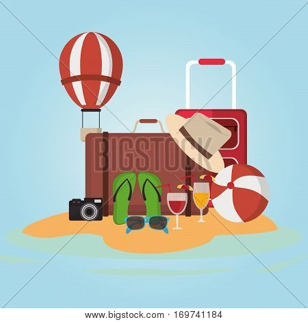 collection accessories vacations paradisiac island vector illustration eps 10