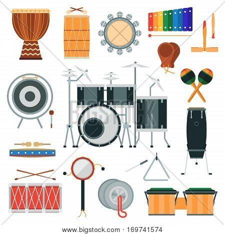Vector percussion musical instruments in flat style. Various classical orchestral concert stage, traditional national drum. Cartoon graphic design elements.
