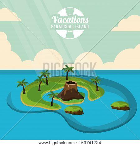 volcano island palm trees vacations paradisiac island poster vector illustration