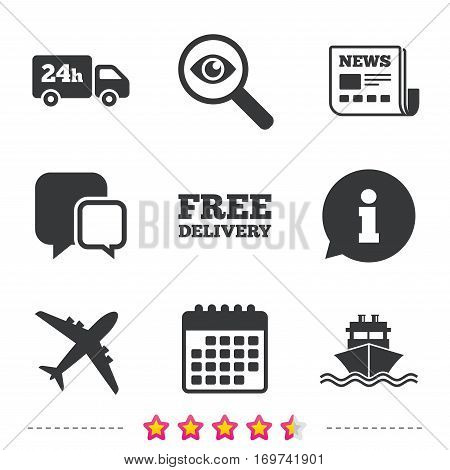 Cargo truck and shipping icons. Shipping and free delivery signs. Transport symbols. 24h service. Newspaper, information and calendar icons. Investigate magnifier, chat symbol. Vector