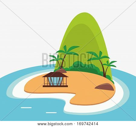 tropical island tourism mountain hut vector illustration eps 10
