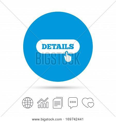 Details with hand pointer sign icon. More symbol. Website navigation. Copy files, chat speech bubble and chart web icons. Vector