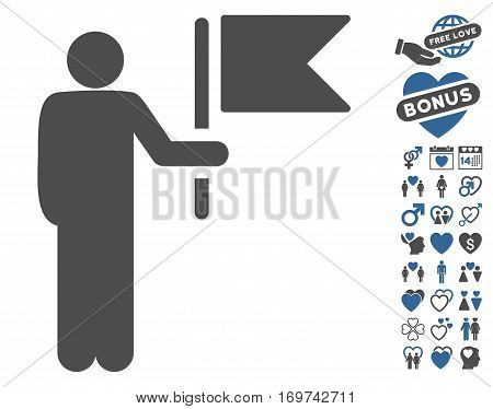 Commander With Flag icon with bonus lovely pictograms. Vector illustration style is flat iconic cobalt and gray symbols on white background.
