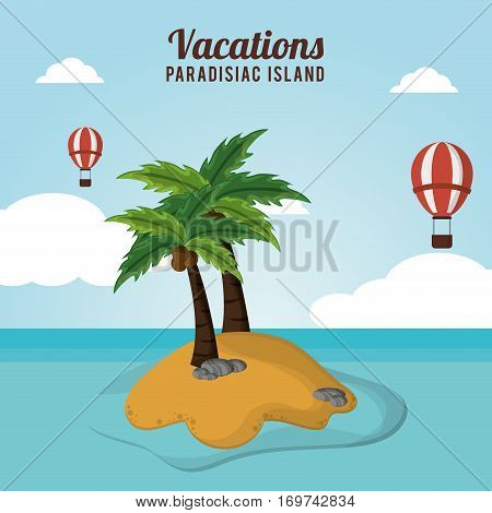 adventure airballoons flying vacations paradisiac island vector illustration eps 10