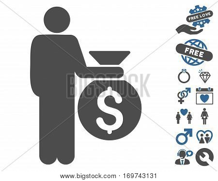 Investor icon with bonus love graphic icons. Vector illustration style is flat iconic cobalt and gray symbols on white background.