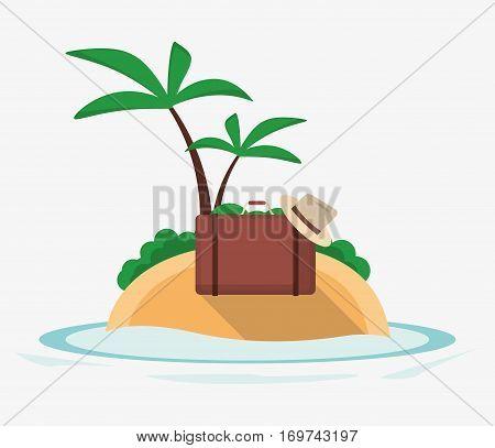 vacations island suitcase hat palm tree desert ocean vector illustration esp 10