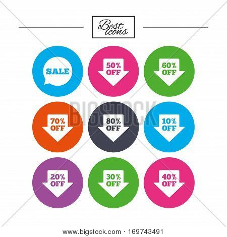 Sale discounts icons. Special offer signs. Shopping price tag symbols. Classic simple flat icons. Vector