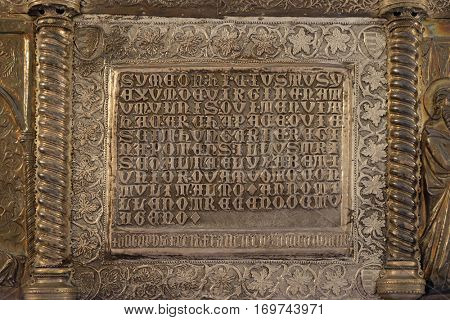 ZAGREB, CROATIA - APRIL 13: Bass relief with images from the life of St. Simeon, Saint Simeons chest at the atrium of Croatian Academy of Sciences and Arts in Zagreb, on April 13, 2016.