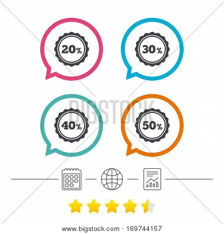 Sale discount icons. Special offer stamp price signs. 20, 30, 40 and 50 percent off reduction symbols. Calendar, internet globe and report linear icons. Star vote ranking. Vector