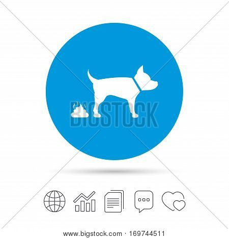 Feces sign icon. Clean up after pets symbol. Put it in the bag. Copy files, chat speech bubble and chart web icons. Vector