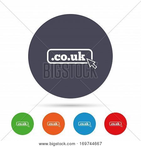 Domain CO.UK sign icon. UK internet subdomain symbol with cursor pointer. Round colourful buttons with flat icons. Vector