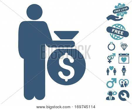 Investor icon with bonus dating icon set. Vector illustration style is flat iconic cyan and blue symbols on white background.