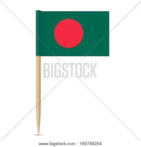 flag of Bangladesh. Flag toothpick on white background 10eps
