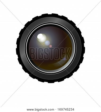 Realistic camera lens. Vector illustration for t shirt, bag, ad, etc. on separated background. Colored variant.