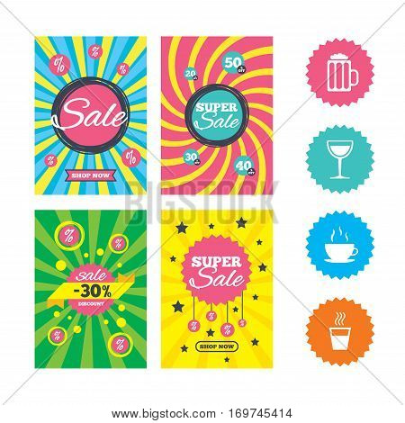 Web banners and sale posters. Drinks icons. Coffee cup and glass of beer symbols. Wine glass sign. Special offer and discount tags. Vector