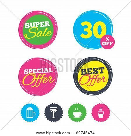 Super sale and best offer stickers. Drinks icons. Coffee cup and glass of beer symbols. Wine glass sign. Shopping labels. Vector