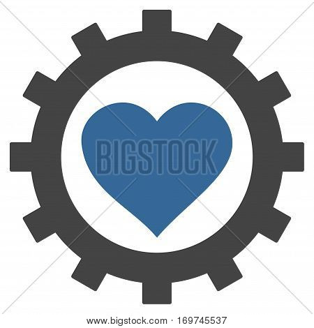 Love Heart Options Gear flat icon. Vector bicolor cobalt and gray symbol. Pictogram is isolated on a white background. Trendy flat style illustration for web site design logo ads apps