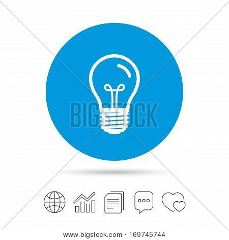 Light bulb icon. Lamp E27 screw socket symbol. Illumination sign. Copy files, chat speech bubble and chart web icons. Vector