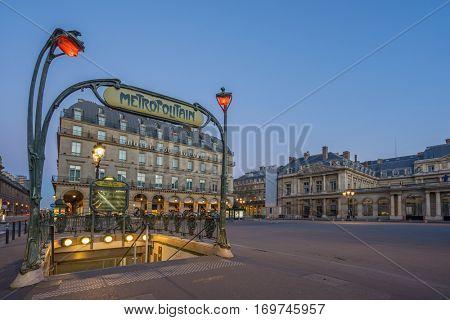 PARIS - DECEMBER 04, 2016: Paris Metropolitain entrance. The Paris Metro or Metropolitain is a rapid transit system in the Paris Metropolitan Area