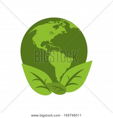 world earth ecological enviroment leaves symbol vector illustration eps 10
