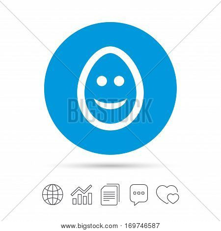 Smile Easter egg face sign icon. Happy smiley chat symbol. Copy files, chat speech bubble and chart web icons. Vector